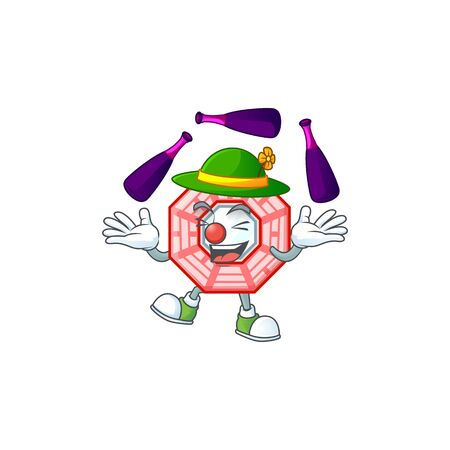 Smart chinese square feng shui cartoon character design playing Juggling