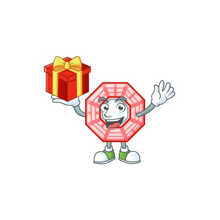 Happy face chinese square feng shui cartoon character having a box of gift