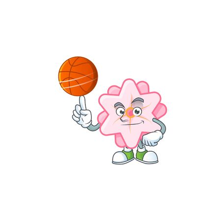 a Healthy chinese pink flower cartoon character playing basketball Stock fotó - 138467265