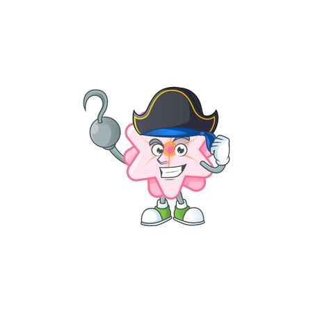 Cool one hand Pirate chinese pink flower cartoon character wearing hat Archivio Fotografico - 138467298