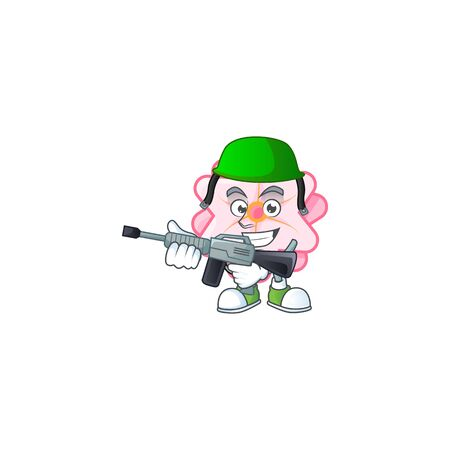 Chinese pink flower carton character in an Army uniform with machine gun 일러스트