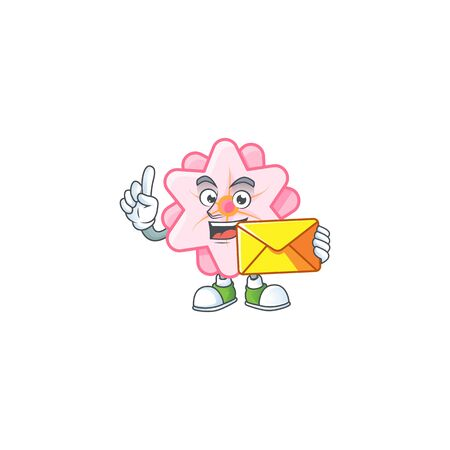 Cheerfully chinese pink flower mascot design with envelope 일러스트