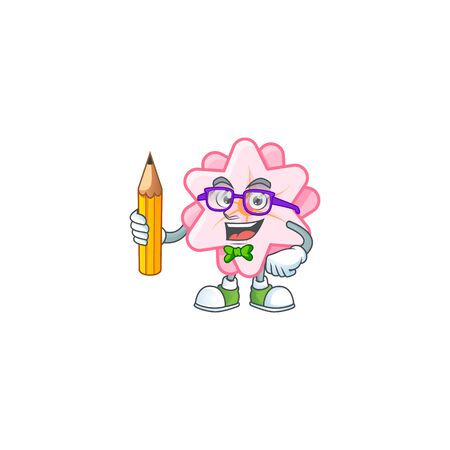 A picture of Student chinese pink flower character holding pencil