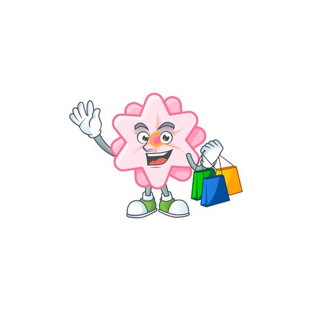 A happy rich chinese pink flower waving and holding Shopping bag