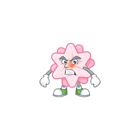 cartoon character of chinese pink flower with angry face. Vector illustration