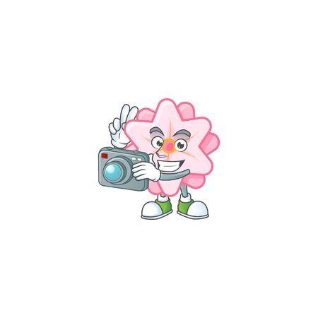 Cool Photographer chinese pink flower character with a camera