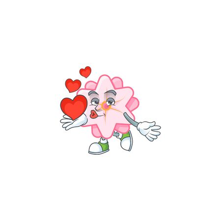 Funny Face chinese pink flower cartoon character holding a heart Stock Vector - 138467666