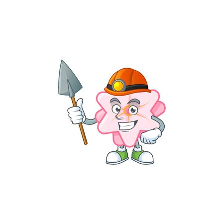 Cool clever Miner chinese pink flower cartoon character design