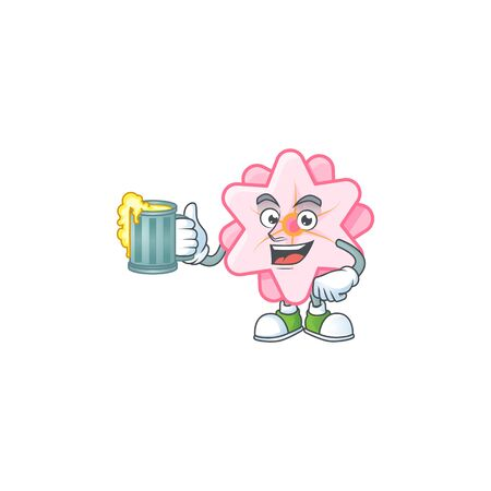 Happy chinese pink flower mascot design with a big glass 일러스트