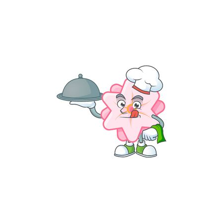 cartoon design of chinese pink flower as a Chef having food on tray