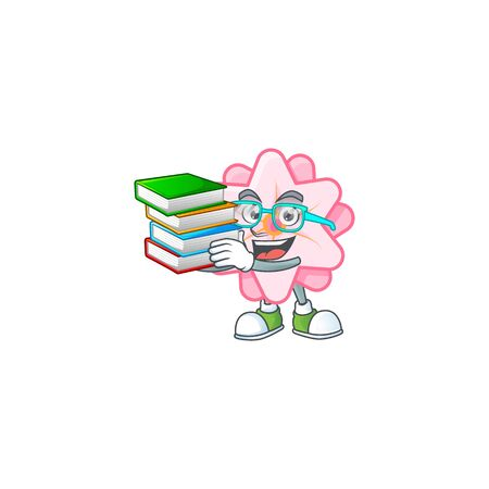 Cool and clever Student chinese pink flower mascot cartoon with book