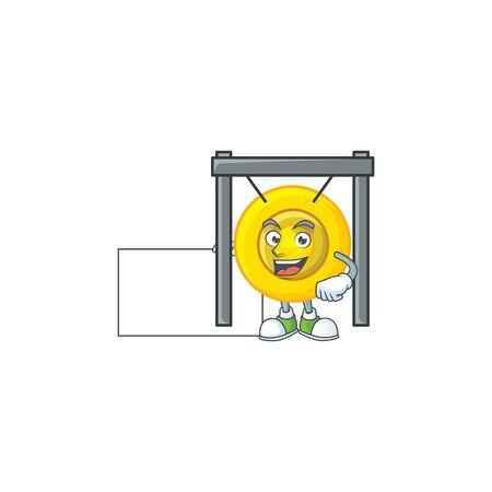 Cheerful chinese gong cartoon character having a board. Vector illustration