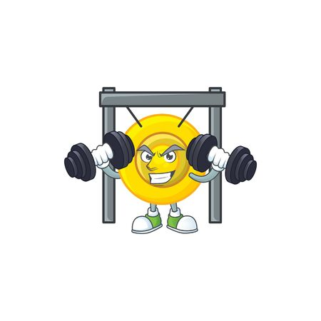 Fitness exercise chinese gong mascot icon with barbells. Vector illustration