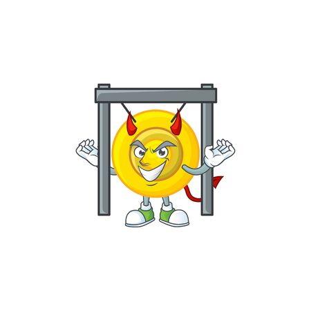 Devil chinese gong Cartoon character design style. Vector illustration