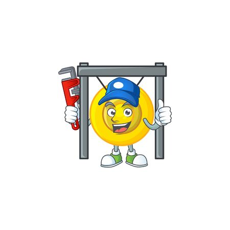 Cool Plumber chinese gong on mascot picture style. Vector illustration