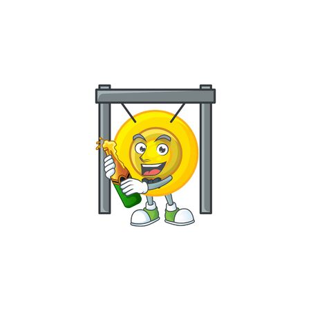 mascot cartoon design of chinese gong with bottle of beer. Vector illustration Çizim