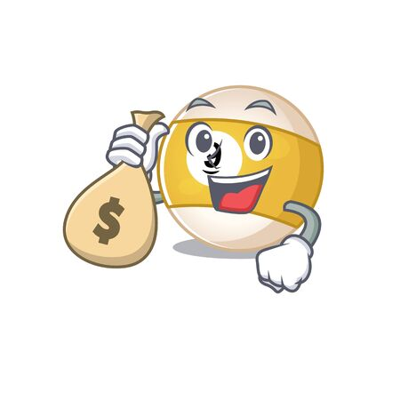 Happy rich billiard ball cartoon character with money bag