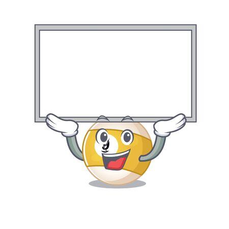 A mascot picture of billiard ball raised up board. Vector illustration