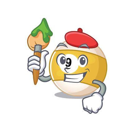 Cartoon character of billiard ball Artist with a brush. Vector illustration Illusztráció
