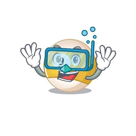 cartoon character of billiard ball wearing Diving glasses