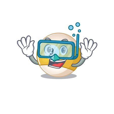 cartoon character of billiard ball wearing Diving glasses