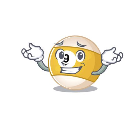 Super Funny Grinning billiard ball mascot cartoon style. Vector illustration Illusztráció