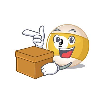Cute billiard ball cartoon character having a box. Vector illustration