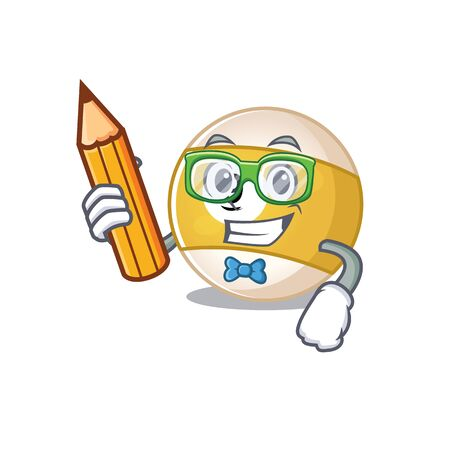 A picture of Student billiard ball character holding pencil. Vector illustration