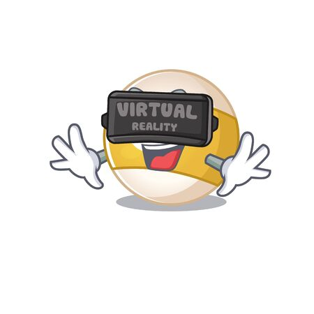 Trendy billiard ball character wearing Virtual reality headset