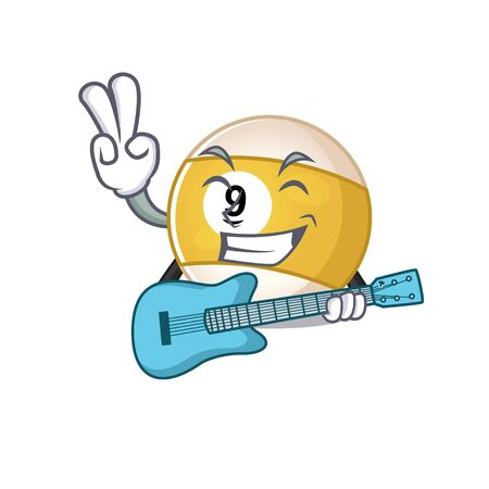 A mascot of billiard ball performance with guitar. Vector illustration