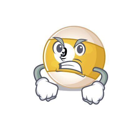 Billiard ball cartoon character design having angry face. Vector illustration
