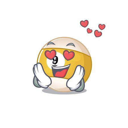 falling in love cute billiard ball cartoon character design. Vector illustration