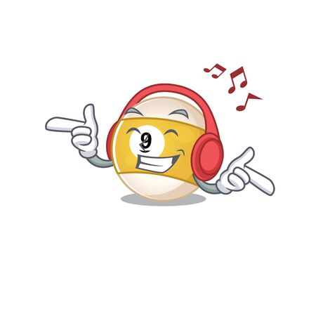 Listening music billiard ball mascot cartoon character design. Vector illustration