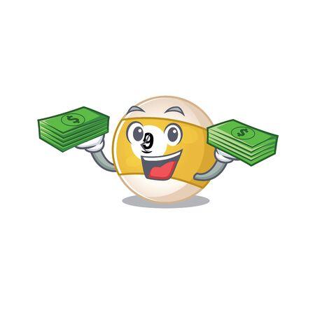 happy rich billiard ball character with money on hands. Vector illustration Illusztráció