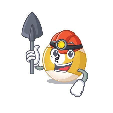 Cool clever Miner billiard ball cartoon character design