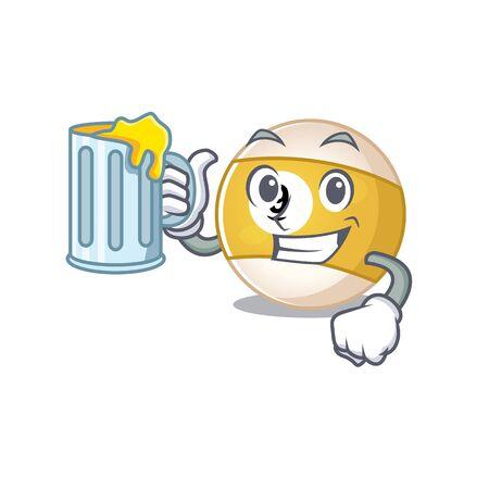 Happy billiard ball mascot design with a big glass. Vector illustration Ilustração
