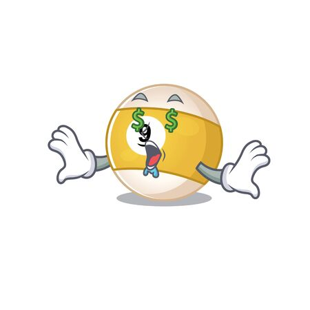 Happy rich billiard ball with Money eye cartoon character style. Vector illustration