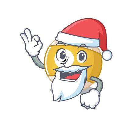 A picture of Santa billiard ball mascot picture style with ok finger. Vector illustration Illusztráció