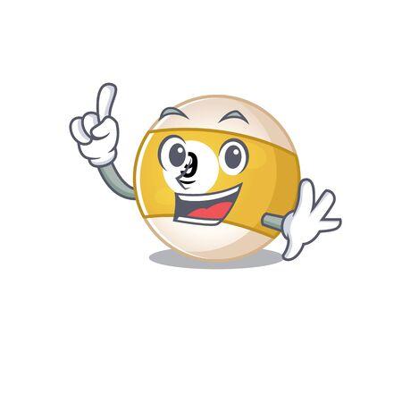 One Finger billiard ball in mascot cartoon character style. Vector illustration