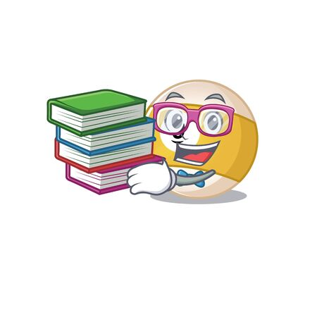 Cool and clever Student billiard ball mascot cartoon with book