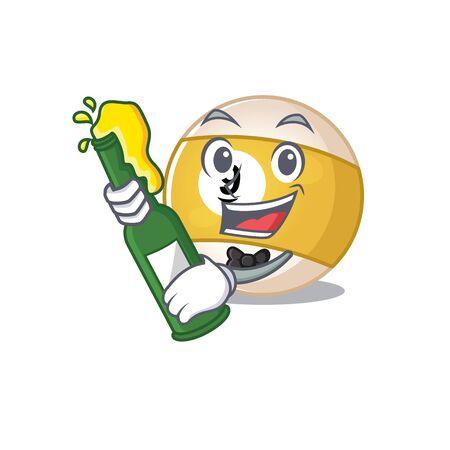 mascot cartoon design of billiard ball with bottle of beer. Vector illustration