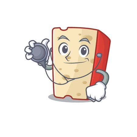 Smart and cool dutch cheese cartoon character in a Doctor with tools. Vector illustration