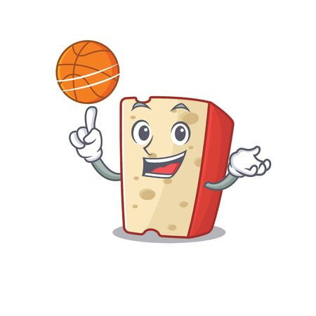 A mascot picture of dutch cheese cartoon character playing basketball. Vector illustration