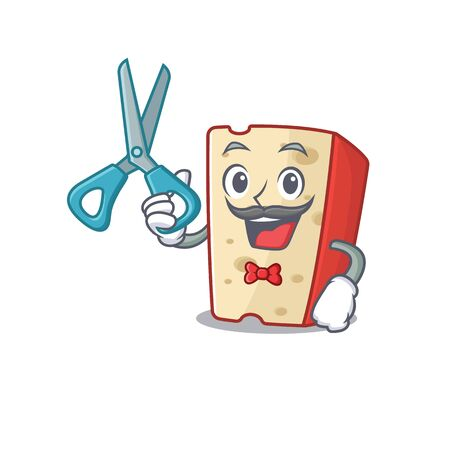 Smiley Funny Barber dutch cheese cartoon character design style. Vector illustration