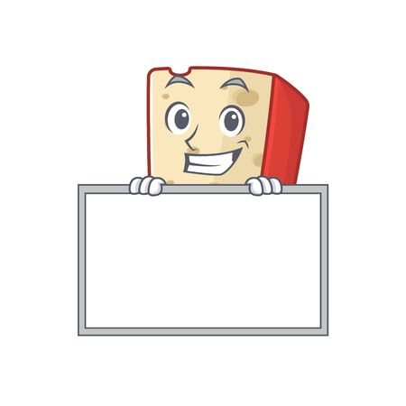 A cute picture of dutch cheese grinning with board. Vector illustration 向量圖像
