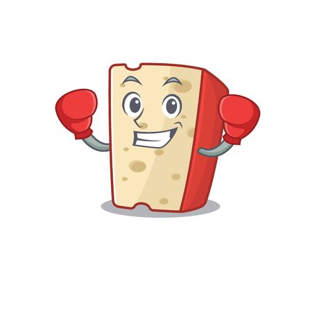 Sporty Boxing dutch cheese mascot character style. Vector illustration 向量圖像