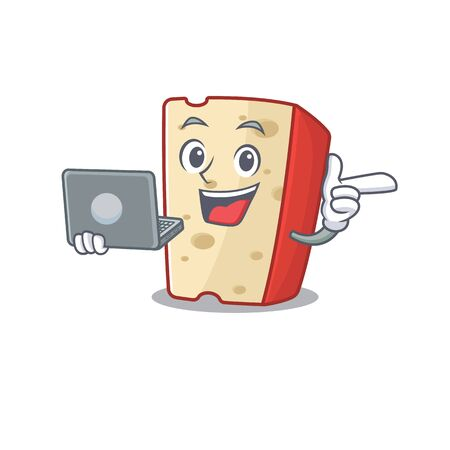 Smart character of dutch cheese working with laptop. Vector illustration 向量圖像