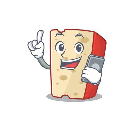 Cartoon design of dutch cheese speaking on a phone. Vector illustration 向量圖像