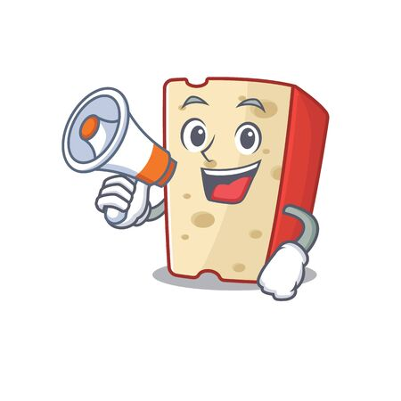 An icon of dutch cheese having a megaphone. Vector illustration