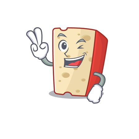 Smiley mascot of dutch cheese cartoon Character with two fingers. Vector illustration